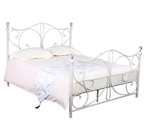 Elegant Metal Bed Frame - Featuring Crystal Finial - A Beautiful Addition to Any Bedroom (Double (4' 6'), White)