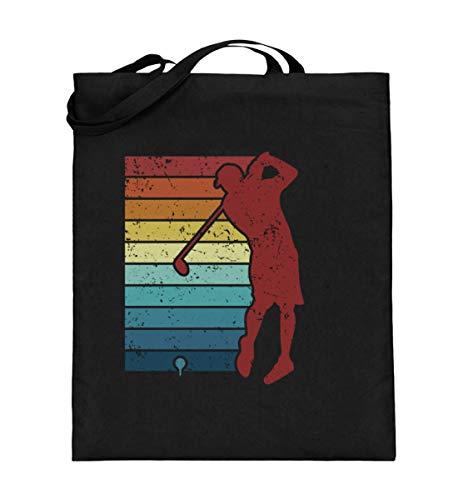Bolsa de yute retro para golfistas, pelota de golf vintage, bolsa de algodón, color Negro, talla 38cm-42cm