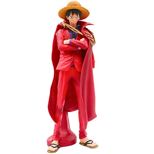 YEKKU Ruffy Figur One Piece Anime Figur Puppen Spielzeug Ornament Ruffy Modelle Hut Affe Umhang Ruffy Anime Modell Anime Cartoon Charakter Puppe