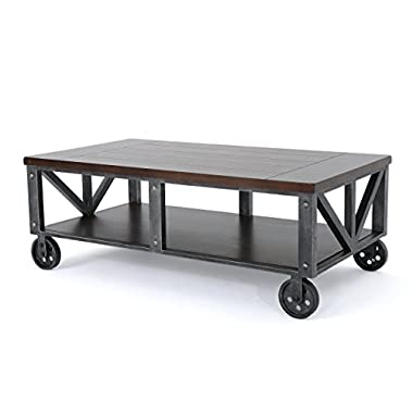 Dresden Industrial Rustic Wood Faux Wood Coffee Table with Antique Black Iron Frame