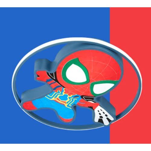 Plafón Led De Techo Niñas/Niños,Lámpara De Techo Regulable Con Mando A Distancia Para Habitación Infantil,Regulación Del Control Remoto Azul D45Cm * H5Cm Lámparas Modernas Spiderman