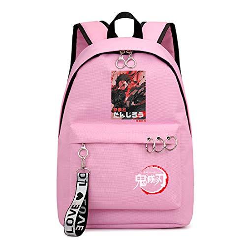 ZZGOO-LL Demon Slayer: Kimetsu no Yaiba Kamado Tanjirou/Nezuko Anime Laptop Backpack Bag Travel Mochilas Daypacks Bolso Ligero Pink