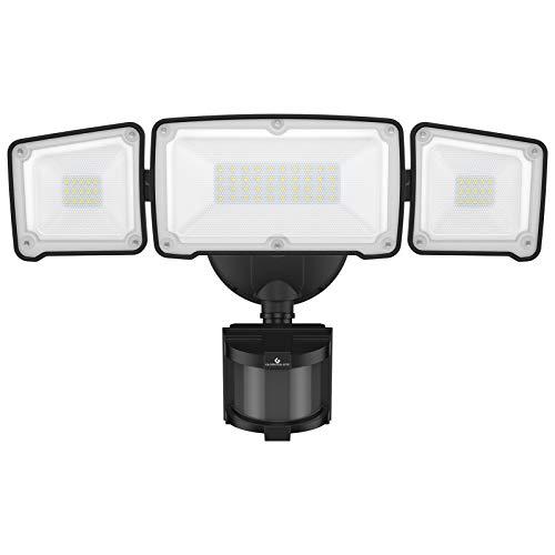 GLORIOUS-LITE LED Security Lights Motion Sensor Outdoor, 35W 3500LM Motion Sensor Flood Light, Super Bright Motion Sensor Light with 3 Adjustable Head, 5500K, IP65 Waterproof for Porch, Garage, Yard
