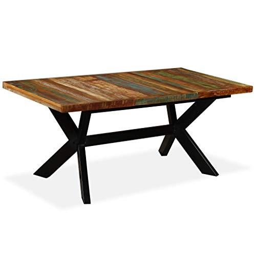 vidaXL Table de Salle à Manger Table à Dîner Table de Repas Meuble de Cuisine Maison Intérieur Bois de Récupération Massif Acier 180 cm