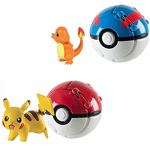 J&O Pokeballs & Action Figures, Throw Poké and N Pop Poké Ball with Action Figures for Children (2 Pack)