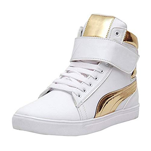 Shoe Island ® Popular Icon-X ™ Designer Leatherette High Ankle Length Velcro White Shinning Gold Casual Dance Sneakers, Size 6 UK/India