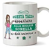 Mugffins Sorella Tazza/Mug - Questa Tazza Appartiene alla Miglior Sorella dell'Universo - Idea Regalo Originale di Compleanno - Tazza Migliore Sorella