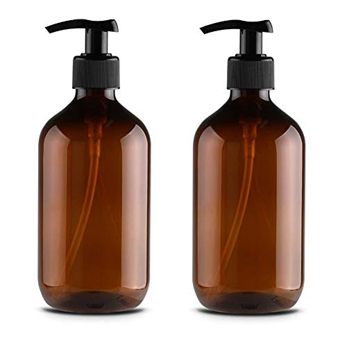 WYHM Attractive Hand Soap Dispenser, Clear Split Bottle with Rustproof Black Stainless Pump for Essential Oil Lotion Soap Rustproof (Color : 300ml, Size : 2 Pack Amber)