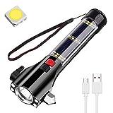 OVAREO LED Taschenlampe USB Taschenlampen mit 5 Lichtmodi,Solar Multifunktion Autotaschenlampe mit Gurtschneider & Notfallhammer Taktische Handlampe mit 18650 Akku für Reise Wandern, Camping (M)
