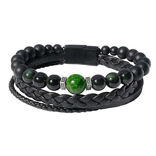 Smarago: Pulsera para hombre de lujo obsidiana y diopside verde esmeralda BROB8551