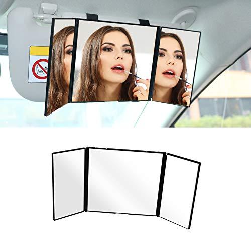 Tri-Fold Car Visor Mirror,LECAMEBOR HD Car Universal Folding Car Sun Visor Cosmetic Mirror,Multi-Angle Vision