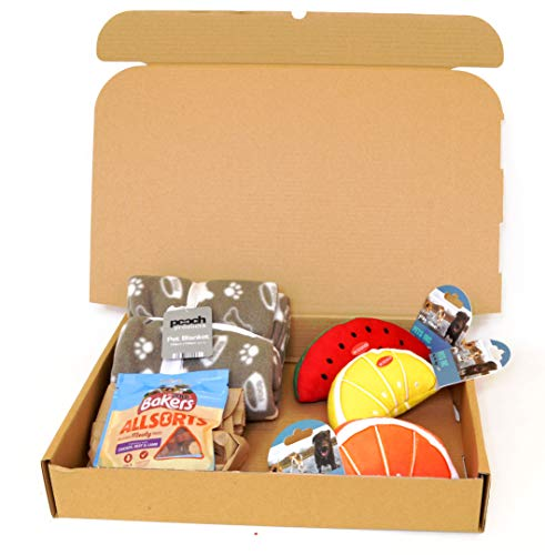 Rock House Dog's Gift Set - Pet Blanket, 3 Squeaky soft Toys & Pack of Bakers Treats in a Gift Box
