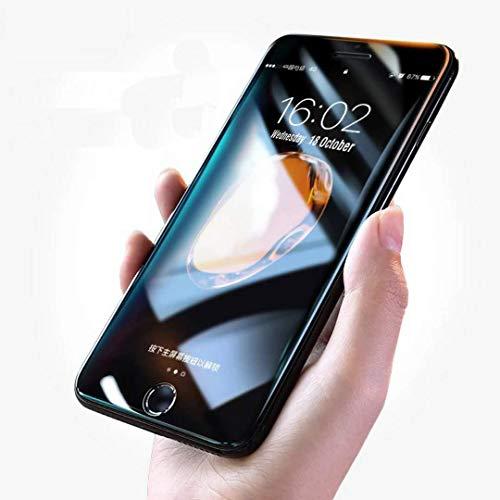 4D Full-Cover Protector de Pantalla, CompraFun 4D 9H Vidrio Cristal Templado Completo Borde Curvo Anti-luz azul Toque Sensible Ajustable para Iphone 7Plus/8Plus (5.5 Pulgadas). (Negro)