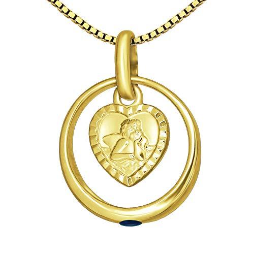 CLEVER SCHMUCK-SET dorato minadesign battesimo anello Ø 12mm zaffiro-Gioiello con ciondolo Angelo a forma di cuore opaco con bordo diamantato 333Oro 8carati e catena Venezia 36cm per ragazzo