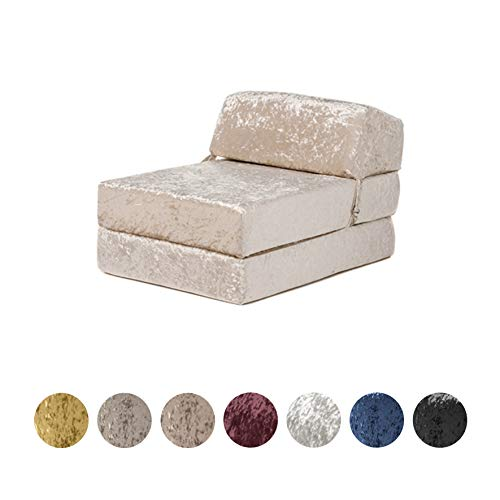 Changing Sofas | 'Envie' Crushed Velvet Fold Out Single Z Bed Mattress (Bling Mink)