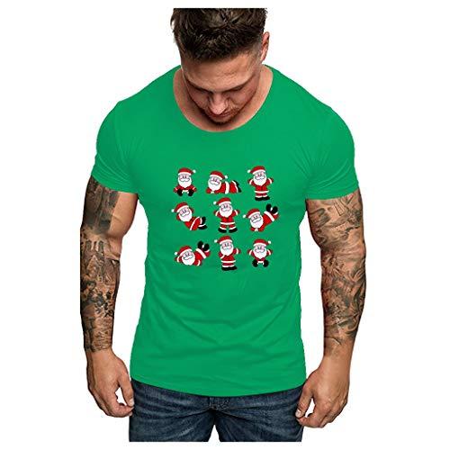 R-Cors Hommes Noël à Manche Courte Pull Lettre Imprimé Les Loisirs Coupe Slim Tee Shirt Col Rond Couleur Unie Tops Grande Taille Confortable Streetwear(B Vert,2XL)