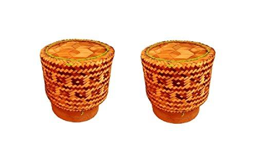 2 x Thaise bamboemand rijstdemper voor het stijlvol koken en serveren van rijst uit noord-Thailand (Isaan) (breedte 12 cm)