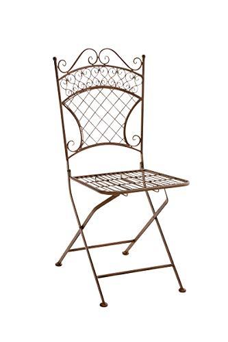 CLP Eisen-Klappstuhl ADELAR im nostalgischen Design I Klappbarer Gartenstuhl mit edlen Verzierungen I erhältlich, Farbe:antik braun