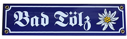 Bad Tölz mit Edelweiß Emaille Schild Bayern 8 x 30 cm Emailschild.