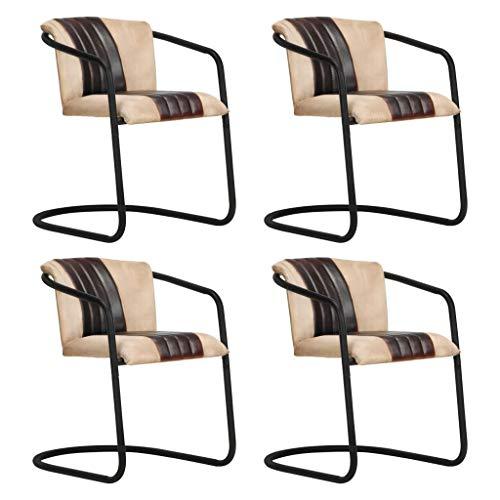 vidaXL 4X Esszimmerstuhl Freischwinger Schwingstuhl Stuhl Set Polsterstuhl Stühle Küchenstuhl Essstuhl Wohnzimmerstuhl Lederstuhl Braun Echtleder