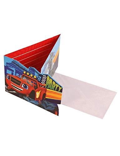Generique 8 Einladungskarten mit Umschlägen Blaze und Monster Machines