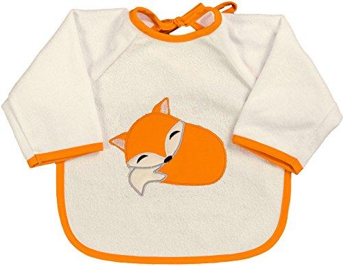 Smithy Kinderlätzchen mit Ärmeln aus 100% Baumwolle mit süßem Fuchsmotiv - wasserfester Ärmellatz mit Druckknopfverschluss für Jungen und Mädchen ab 6 Monaten