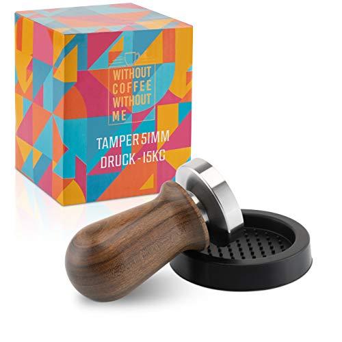 NOUTEN® Premium Espresso Tamper Set 51mm mit Druckreguliereung (15kg) - Kaffeestampfer aus Edelstahl mit Einem elegant geformten Echtholzgriff – Perfekt für Einsteiger - Passende Tampermatte inklusive