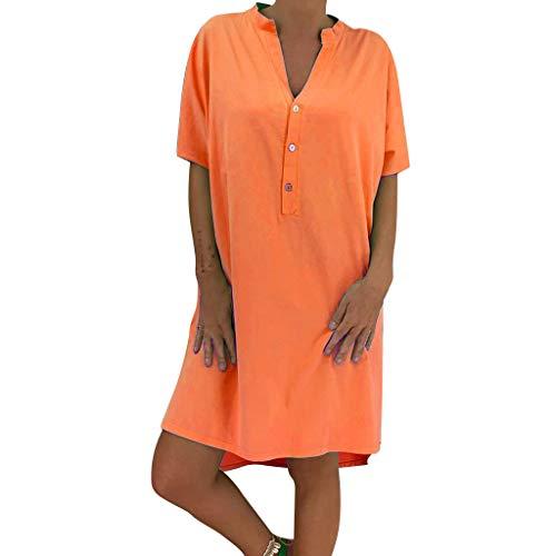 Lialbert T-Shirt-Kleid Dame HäNgerkleid V-Ausschnitt Mit-ÄRmeln Kleider A-Linie Rock Skaterkleid HäNgerkleid Freizeit Lockerer KnöPfen Rock Orange