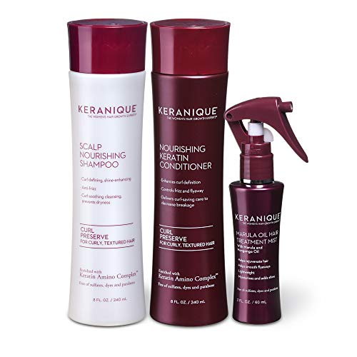Keranique Moisturizing System with Marula Oil for Curly Thinning Hair, includes Shampoo and Conditioner, fortified with Keratin Amino Complex for Shinier, Thicker, Healthier Hair; 60 Days