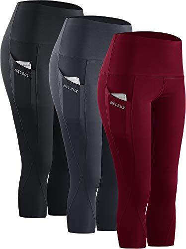 Neleus 3 Pack Workout Running Capris Tummy Control High Waist Yoga Leggings Yoga Pants,9027,Black,Grey,Dark red,M,EU L