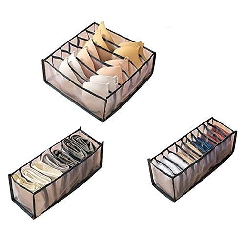 Bayda 3 Unids/Set Ropa Interior Sujetador Calcetines Panty Cajas de Almacenamiento Organizadores Armario Armario OrganizacióN del Hogar CajóN Dormitorio, Gris
