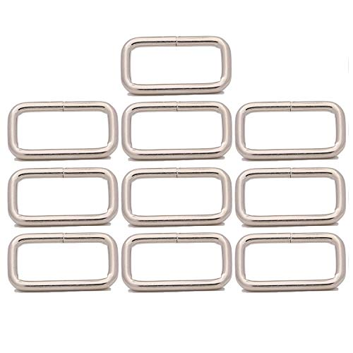 BIKICOCO Metal Rectangle Ring Buckles Square Strap Webbing Belt Rings for Bag, Purse, Non Welded, 2.5 x 1 cm, Silver - Pack of 10