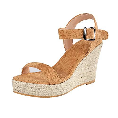 Sfit Damen Sandalen Sommer Elegant Keilabsatz Mode Plattform Strandschuhe Boho Schuhe Frauen Peep Toe Sandaletten Kork Plateau Offene Schuhe Blockabsatz Sandal