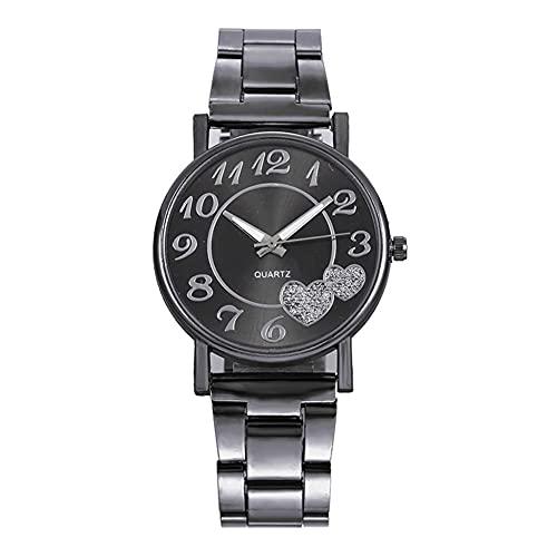 OWZSAN Mujeres Cristal Mujer Black Watch Marca Damas Rhinestone Cuarzo Relojes De Pulsera De Aleación Femenina Strap Regalo Reloj Reloj Mujer Reloj Digital (tamaño : Black)