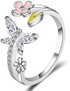 Butterfly Rings Flower Ring CZ Ring White Rings Finger Jewelry Tail Ring Band Ring Wrap Ring Adjustable Rings for Women Gi...