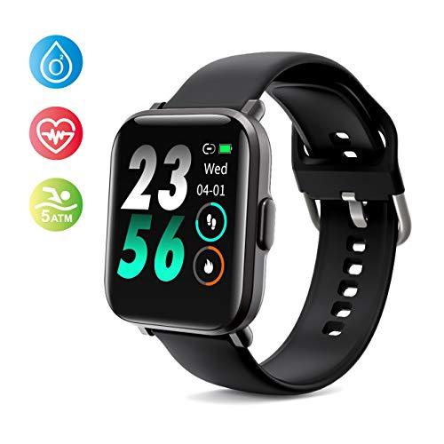 Smartwatch, Fitness Tracker Armbanduhr mit Blutsauerstoff-Monitor(SpO2), Pulsuhren Fitness Uhr Wasserdicht 5 ATM Fitness Tracker Schrittzähler Uhr für Damen Herren Smart Watch für iOS Android