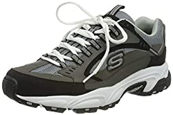 professional Skechers Sport Men's Endurance Nuovo Cutback Lace-Up Shoes, Dark Gray / Black, 12 M US