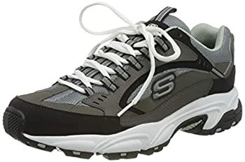 Skechers Sport Men s Stamina Nuovo Cutback Lace-Up Sneaker,Charcoal/Black,9 2E US