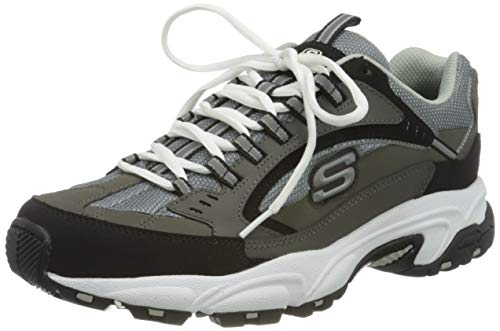 Skechers Sport Men's Stamina Nuovo Cutback Lace-Up Sneaker,Charcoal/Black,10.5 M US