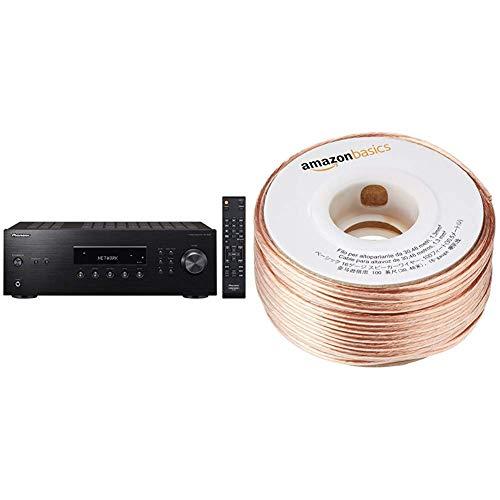 Pioneer Stereo Receiver mit Bluetooth, SX-10AE-B, 2X 100 Watt, 4 Line-Inputs, Tape- und Subwoofer, Lautsprecher A/B, UKW-Radio, schwarz & Amazon Basics Lautsprecherkabel 1,3 mm² / 16 Gauge, 30,48 m