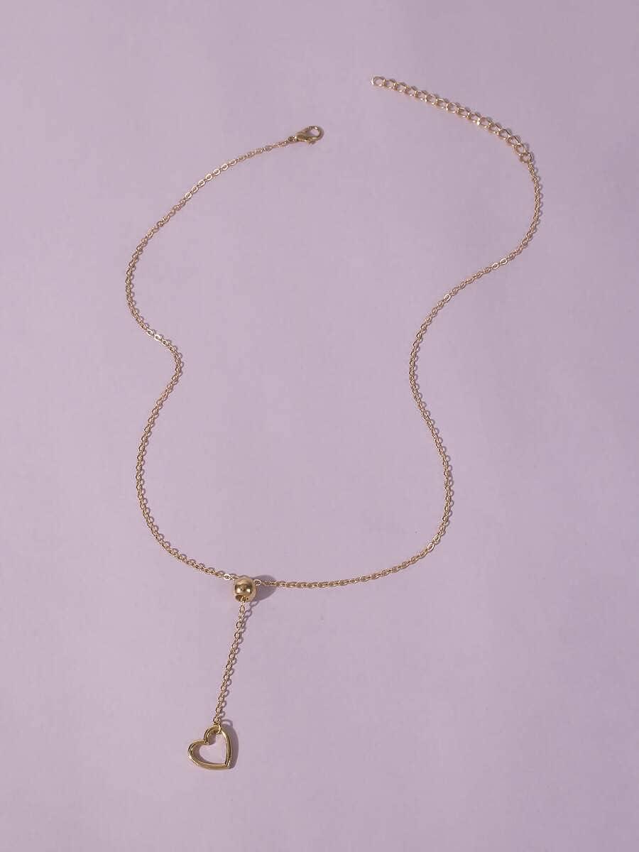 ANBF Necklace Pendant Heart Pendant Y-Lariat Necklace (Color : Gold)