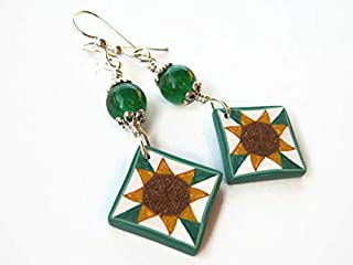 Sunflower Quilt Block Earrings, Sterling Silver, Green Quartz Quilters Jewelry, Limited Edition Polymer Clay