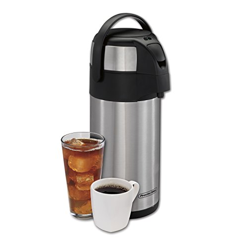 Proctor Silex 3 Liter Airpot Hot Coffee Beverage Dispenser with Pump, Vacuum Insulated, Compact and Portable, 12-Hour Heat Retention/24-Hour Cold Retention, Stainless Steel, 40411