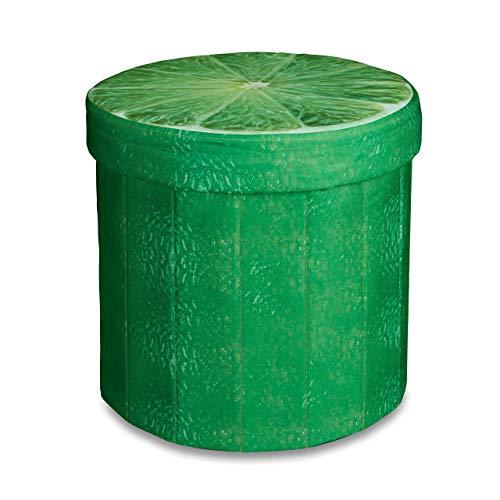 Relaxdays 10020158 Tabouret rond pliant coffre de rangement pliable pouf siège chaise avec couvercle capacité de stockage 30 L motifs fruits 38 x 38,5 x 38,5 cm, citron vert