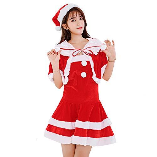 Flyworldサンタコスプレレディース女性衣装サンタコスクリスマス可愛い仮装サンタクロースコスチュームセクシークリスマス服大人用サンタ服女性用