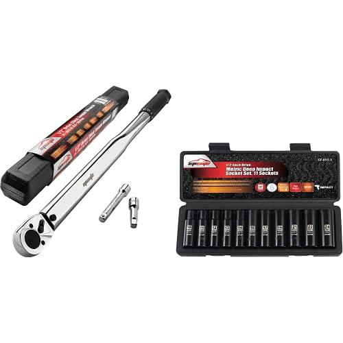 EPAuto 1/2-Inch Drive Click Torque Wrench + EPAuto 1/2-Inch Drive Metric Deep Impact Socket Set, Cr-V, 6 Points