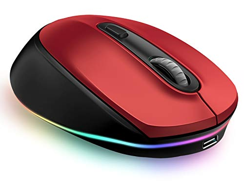 LED Bluetooth Mouse, seenda Silent Rechargeable Wireless Bluetooth Mouse 3-Mode( BT5.0/BT3.0/2.4G) for Multi-Device, Compatible with Laptop, PC, Mac OS, Windows, Android, Up to 2400 DPI, Red&Black
