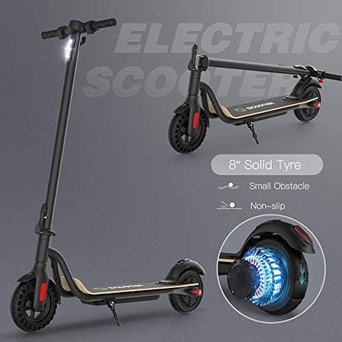 Mtricscoto S10 Trottinette électrique pliable, 3 vitesses avec vitesse maximale 25 km/h, pneu à nid d'abeille, 8 pouces, moteur de 250 W pour adultes et adolescents, noir