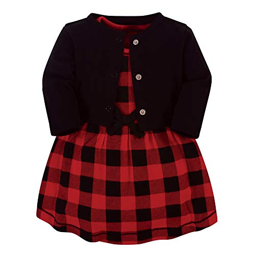 Touched by Nature Baby Girls' Organic Cotton Dress and Cardigan, Buffalo Plaid, 3-6 Months