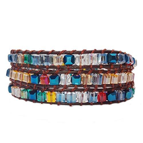 AMAYA Mode-Schmuck Naturstein Karmavana Leder Strass Armband breit Damen Geschenke für Frauen Wickelarmband bunt